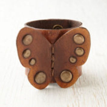 Karen Kell Leather Butterfly Cuff at Free People Clothing Boutique
