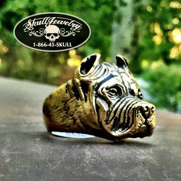 'We Are One' Badass Gold-Tone Pitbull Ring (359)