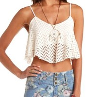 Crochet Flounce Swing Crop Top by Charlotte Russe - Ivory