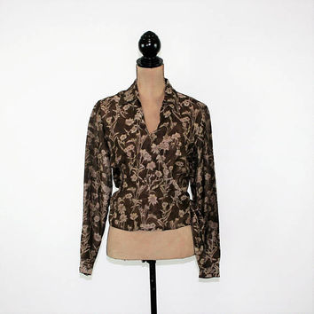 Linen Blouse Silk Shirt Long Sleeve Wrap Top Medium Brown Floral Blouse Print Sheer Blouse Size 10 Blouse Ann Taylor Womens Clothing