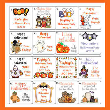 "HALLOWEEN Goody Bag or Favor 2"" SQUARE LABELS"