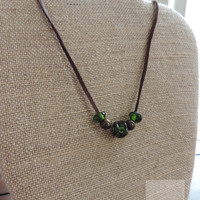 Wine necklace Upcycled wine bottle Repurposed wine bottle Gifts for her Adjustable leather necklace (N054)