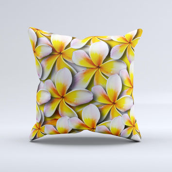Vibrant Yellow Flower Pattern  Ink-Fuzed Decorative Throw Pillow