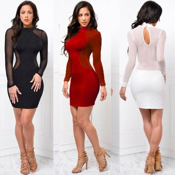 New Women Bodycon Dress Turtleneck Long Sleeves See Through Evening Party Dress Club Short Mini Dress Slim