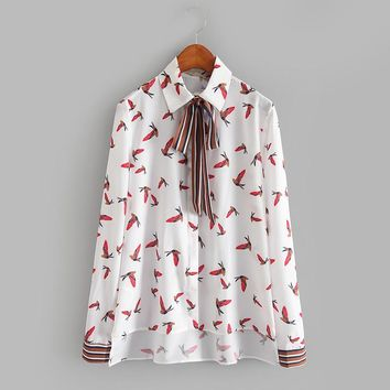 Turn Down Collar Bird Printing Blouse 2017 Colorful Longer In The Rear Shirt Women Vintage Summer Tops Cute Sheath Girl Blusas