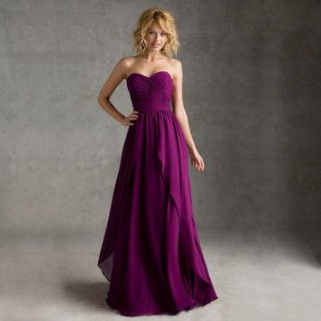 2016 Hot Selling Cheap Purple Bridesmaid Dresses Sweetheart Sleeveless with zipper Back Chiffon a line Wedding Party Gowns
