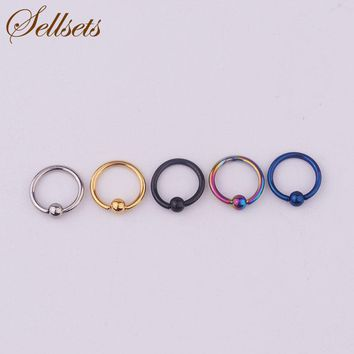 Sellsets Body Piercing Jewelry 5pcs 16G Titanium Anodized Stainless Steel Hoop Nose Eyebrow Lip Tragus Earring Captive Bead Ring
