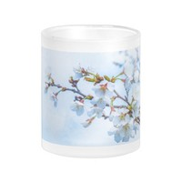 Sakura - Japanese Cherry Blossom 10 Oz Frosted Glass Coffee Mug