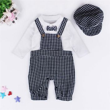 Newborn Rompers Jumpsuit Summer Baby Boys Lattice Gentleman Rompers+Cap Suits Sets Kids Clothes Outfits