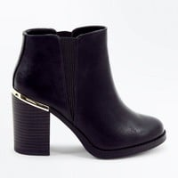 Black Metal Trim Block Heel Ankle Boots | New Look