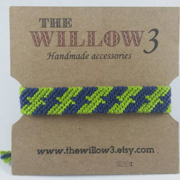 Blue and Light Green Handmade Friendship Bracelet - NFL Seattle Seahawks Colors Theme