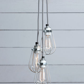 Wire Cage Chandelier - 3 Light Cluster