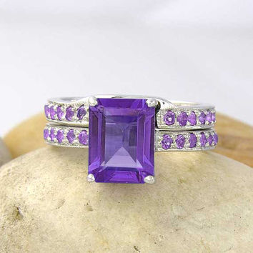 Amethyst Engagement Wedding Band Ring Set 925 Sterling Silver - made to order in your ring size