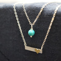 All you need is love memo necklace tiny silver bar layered necklace