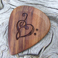 Wood Guitar Pick - Laser Engraved Handmade California Almond Tree Wood Premium Guitar Pick