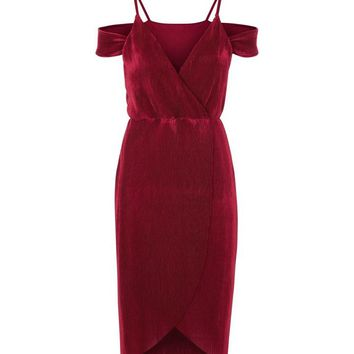Cameo Rose Burgundy Plisse Wrap Front Dress | New Look