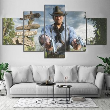 Canvas Poster Video Games Red Dead Redemption 2 Arthur Morgan Gutch's Gang Western Action Adventure Game Wall Art Home Decor
