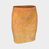 Yellow and orange swirls doodles Fitted Skirt Fitted Skirt