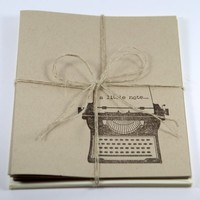 Vintage Typewriter Set of 4 Notecards For Any Occasion With 2 Messages