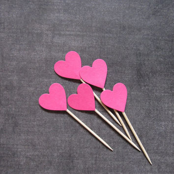 Valentine Heart Cupcake Toppers, Fuchsia Pink Hearts, Party Decor, Weddings, Showers, Birthdays, Set of 24