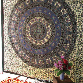 Large Indian Cotton Elephants Mandala Tapestry Wall Hanging Bedspread Hippie Bedding Throw Bohemian Home Decor Art