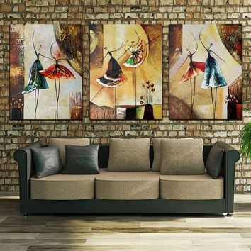 Unframed 3 Panel Ballet Dancer Abstract Modern Wall Art Picture Home Decor Oil Painting On Canvas For Bedroom