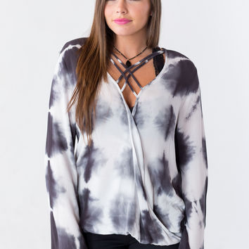 Marbled Slab Faux-Wrap Top in Grey