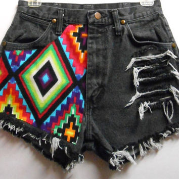 Vintage  High Waist  Denim Shorts Aztec Print by Turnupthevolume