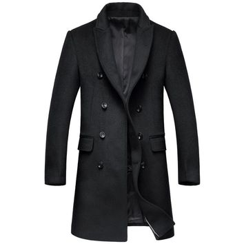 New arrival Men Casual Wool Coat Winter Man Double Breasted Thick Fashion high quality overcoat plus size M L XL XXL XXXL