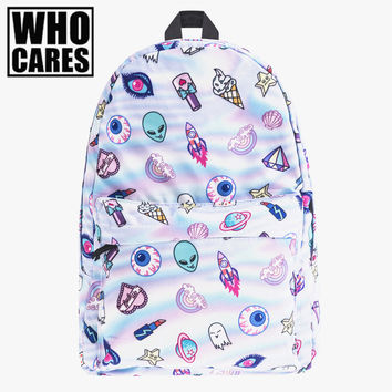 cute patch holo who cares Fashion school bags