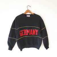 Vintage 80's GERMANY Retro Striped NUTMEG MILLS Tourist Sportswear Pullover Sweatshirt Sz M