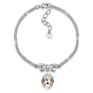 """Princesse de Monaco"" Bowtie Dangle Bracelet with Swarovski Crystals. Jewelry for Women"