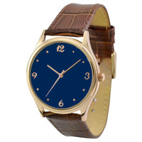 Rose Gold Watch Dark Blue (Number + dots)
