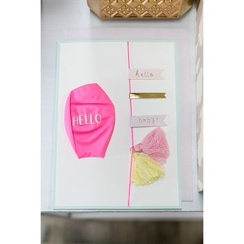 Pink Hello Baby Balloon Card