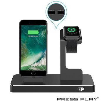 One Dock (apple Certified) Power Station Dock Stand & Built In Lightning Charger For Apple Watch Smart Watch (series 123 Nike+) Iphone X/10/8/8 Plus/7/7plus/6s/6s Ipad & Ipod (aluminum) ¡§c Black