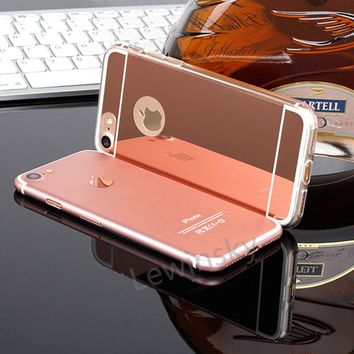 Luxury Acrylic Mirror Soft TPU Cases for iPhone X 7 8 6 6s Plus SE 5s 5 Case Slim TPU Silicone Shockproof Women Girl Fashion