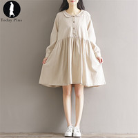 2017 Fashion Women Spring Dresses Vintage Loose Long Sleeve Bow Neck Linen Solid Literary Mori Girl