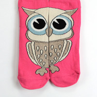Owl Socks Pink Socks Brown Owl Sweet Sock Love Socks Crazy Socks Funny Socks Animal Socks Cute Fun Socks Cotton Animal Socks hosiery echerpe
