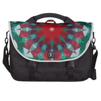 Holiday Green Red with Blue Accent Mandala Laptop Bag