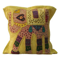 "16"" Yellow Indian Elephant Patch Embroidered Cushion Pillow, Ethnic Pillow, Cottage Pillow, Tribal Pillow, Vintage pillow"