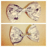 Mickey Mouse Steamboat Willy Comic Book Fabric Hair Bow
