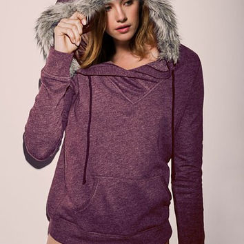 Dark Red Hooded Long Sleeve Faux Fur Hoodie