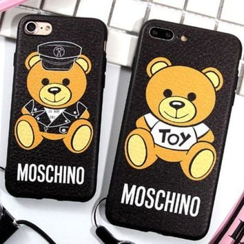 Moschino Moschino Popular Logo Bear Iphone78p Mobile Phone Shell 6 Leather Plus Silicone Couple Hanging Rope Girl