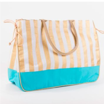 Juco Tote in Gold/Turquoise