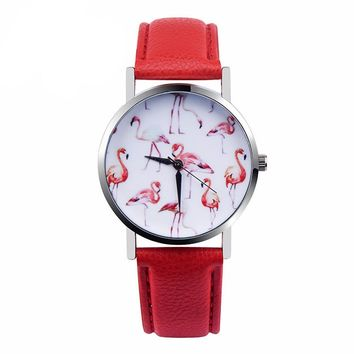 New Watches Women Fashion Flamingo Printed Leather Strap Analog Quartz Wrist Watch Women 2017 Vogue Ladies Casual Watch Relogio
