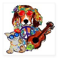 Cool Hippie Rockin Dog and Catnip Kitty Sticker