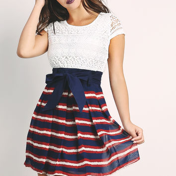 Lace Overlay Striped Dress