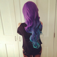 Blue and Purple Wig, Peacock Wig, Teal and Purple Hair, Mermaid Hair Extensions, Heat Resistant Wig, New Years, Fetish, Cosplay, Festivals