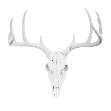 Mini Deer Head Skull | Faux Taxidermy | White Resin