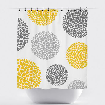 Mustard/Gray Floral Shower Curtain